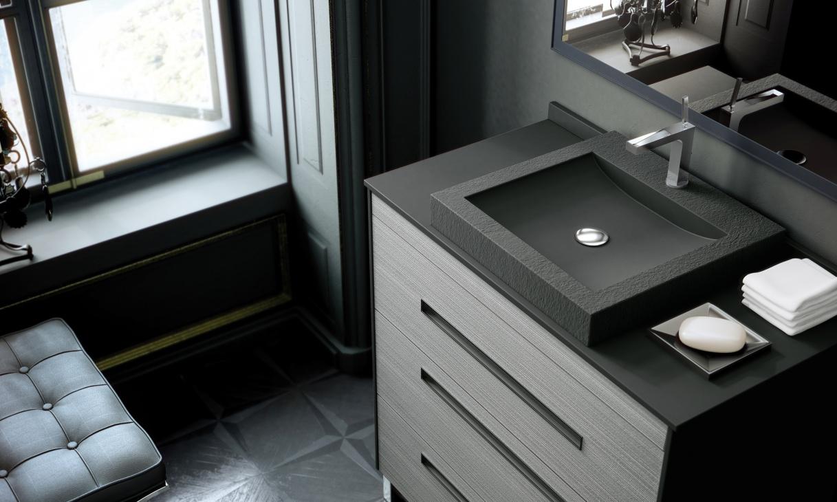 Piano Bagno In Ardesia : Fiora arredobagno propone mobili e top finitura ardesia euroedil